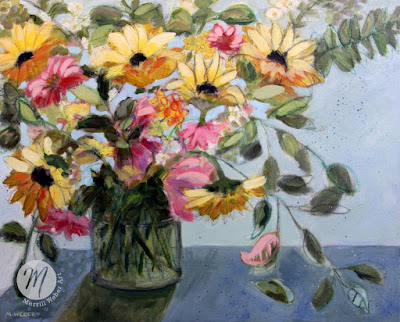 Glamorous-mixed-media-floral-painting-Merrill-Weber