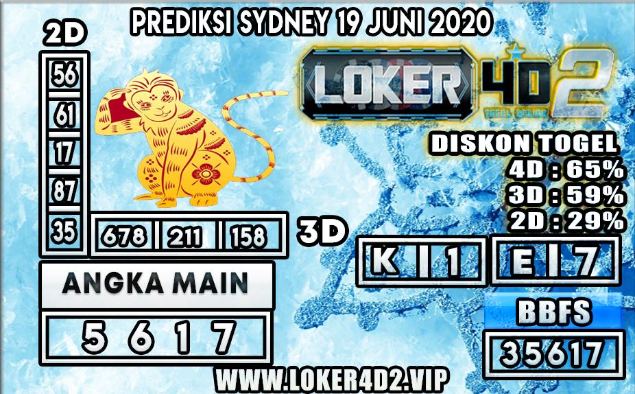 PREDIKSI TOGEL SYDNEY LOKER4D2 19 JUNI 2020