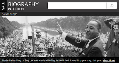 snapshot of Gale Biography collection for MLK, Photo of March on Washington with MLK waving and smiling