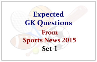 Expected GK Questions from recent Sports Current Affairs 2015 Set-1