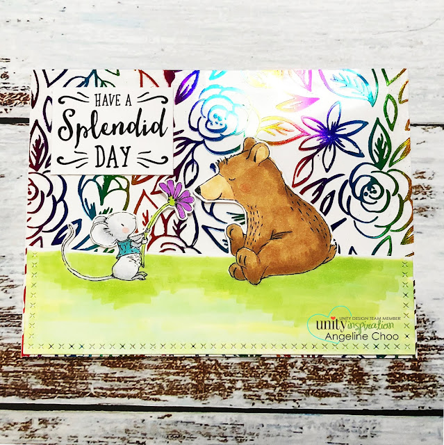 ScrappyScrappy: Oh Splendid Spring #scrappyscrappy #unitystampco #lisaglanz #brownthursday #card #cardmaking #youtube #quicktipvideo #stamp #stamping #papercraft #copicmarkers #springtime #katscrappiness #thermoweb #decofoil #cleartonersheets #rainbowfoil #heidiswapp #miniminc #foiling