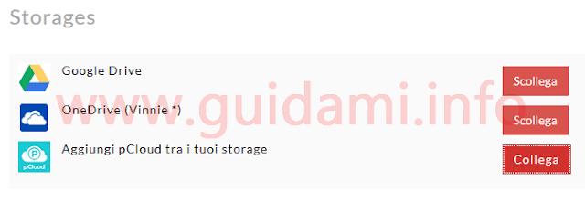 Sito Vcast collegare servizio cloud storage