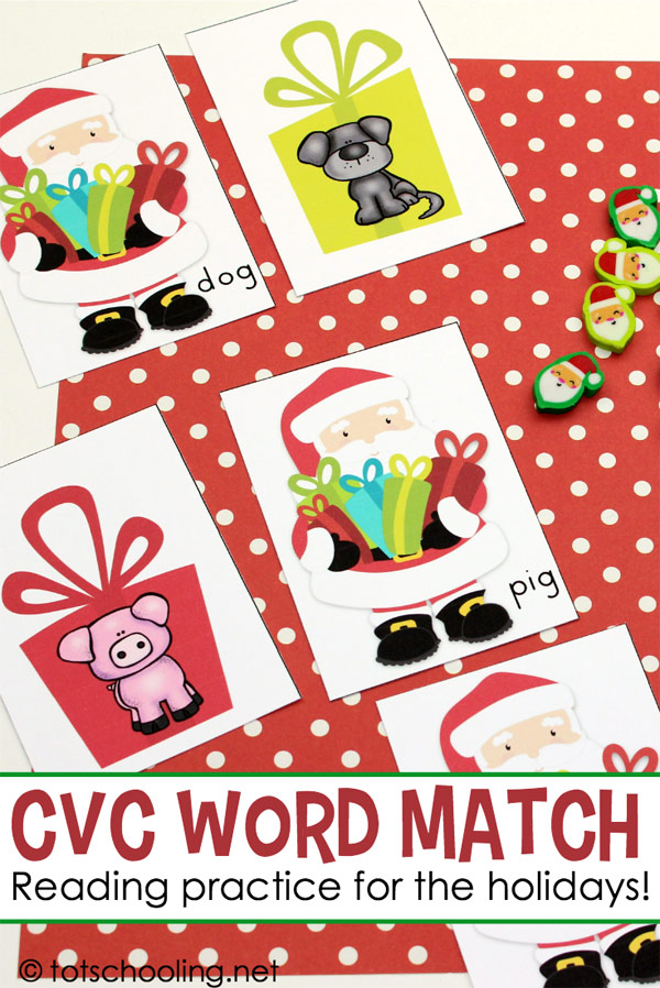FREE printable Christmas themed CVC word matching activity for kindergarten kids. Fun literacy and early reading practice for the Holiday season!