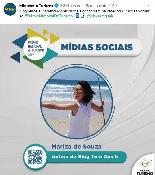 Blog Tem que ir, finalista da categoria mídias sociais do Prêmio Nacional do Turismo