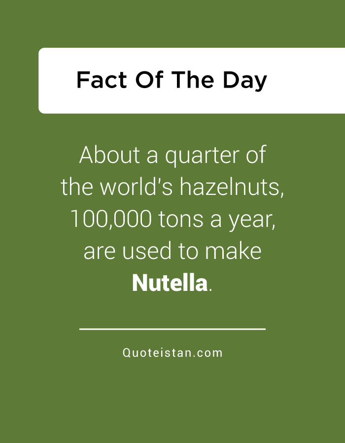 About a quarter of the world's hazelnuts, 100,000 tons a year, are used to make Nutella.