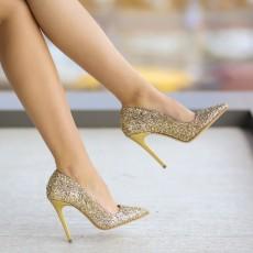 Pantofi de ocazie aurii eleganti cu toc ieftini