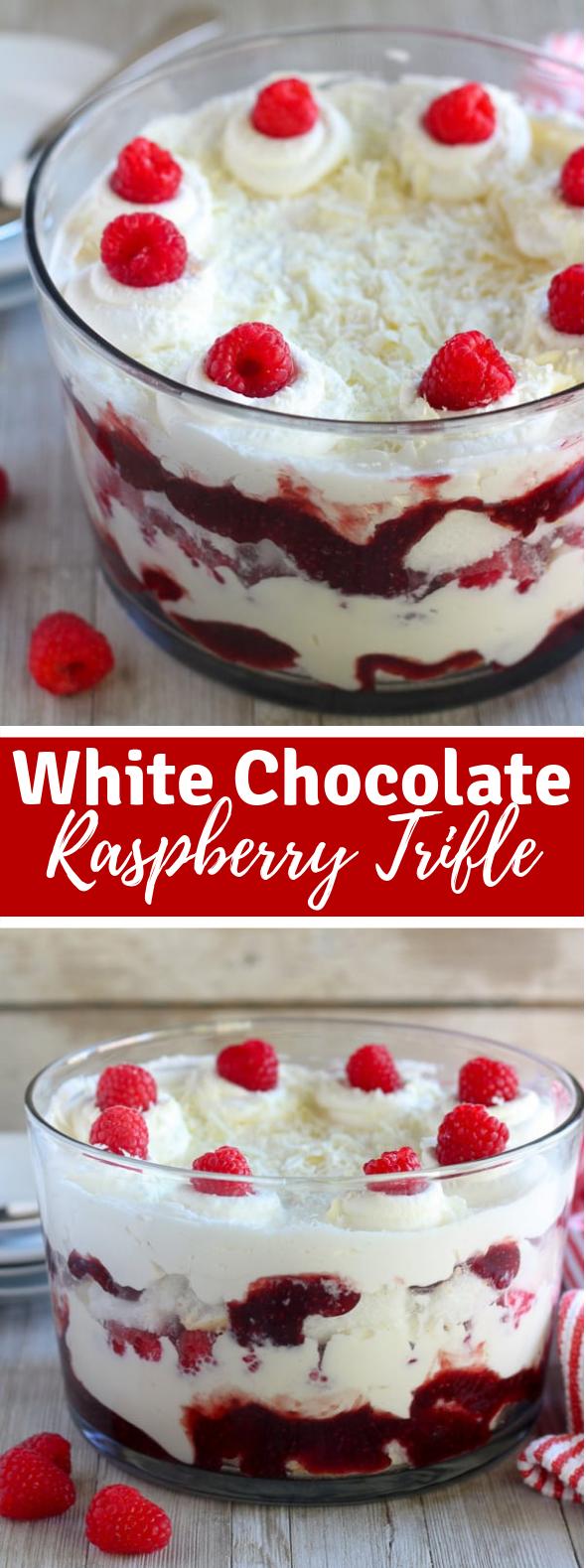 WHITE CHOCOLATE RASPBERRY TRIFLE #dessert #layercake
