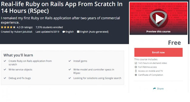 [100% Free] Real-life Ruby on Rails App From Scratch In 14 Hours (RSpec)