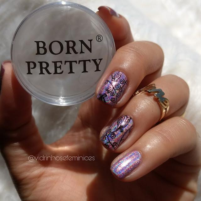 Esmalte Holográfico Born Pretty H009 + Carimbada Born Pretty 107