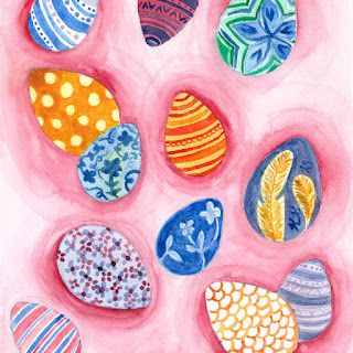 Pink Easter egg watercolor painting