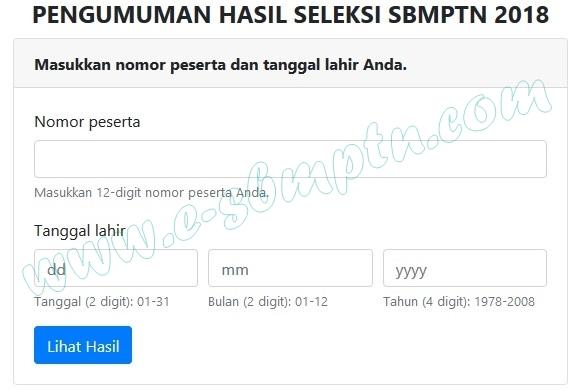 Pengumuman Hasil Seleksi SBMPTN 2018/2019