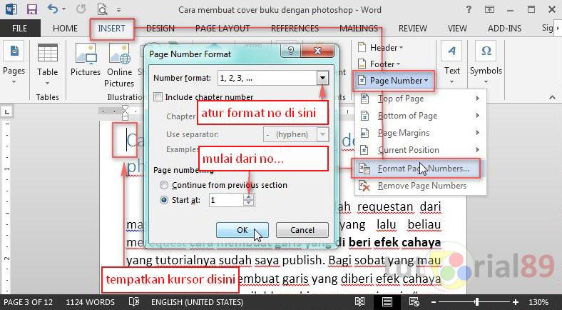 Cara membuat nomor halaman berbeda di word