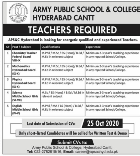 Army Public School & College APS & C Hyderabad Cantt Jobs 2020