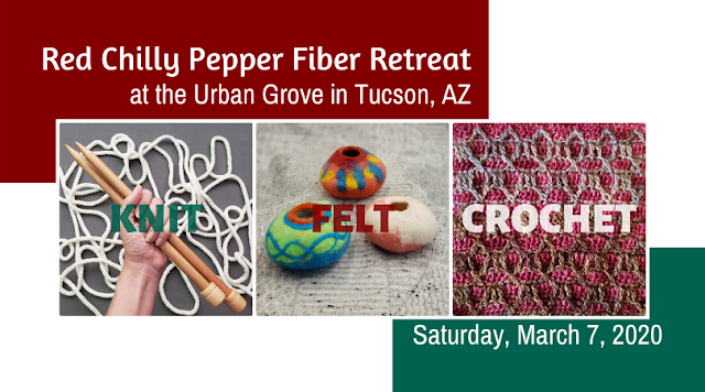 Red Chilly Pepper Fiber Retreat at The Urban Grove, March 7, 2020: Take your fiber arts skills to the next level with lessons in color theory, the mechanics of knitting, felted fiber vessels and overlay crochet