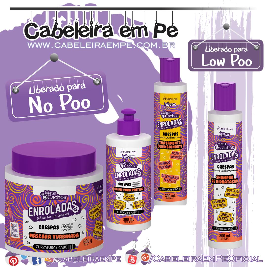 Shampoo (Low Poo), Condicionador, Máscara e Creme para Pentear (Liberados para No Poo) Enroladas Crespas - Novex Meus Cachos