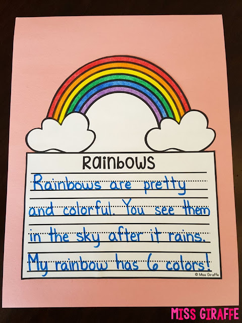 Writing about rainbows is a ton of fun with this no prep March writing activity - click here for a ton of March writing ideas!