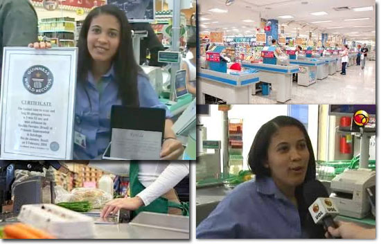 Guinness World Records- Caixa de supermercado mais rapida do mundo