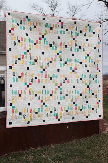 Irish Chain quilt from Irish Chain Quilt book - fabric from Happy Home by Sew Caroline