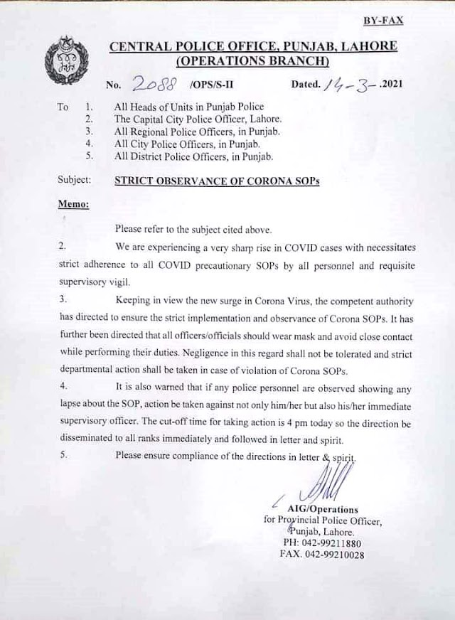 INSTRUCTIONS FOR STRICT OBSERVANCE OF CORONA SOPs BY POLICE PERSONNEL