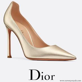 Meghan Markle wore Dior D-Moi lamé lambskin high-heeled shoe