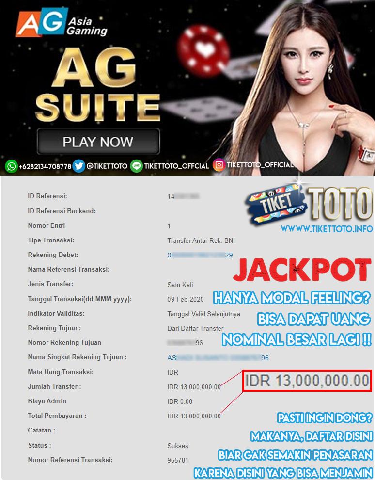 Big Jackpot Dalam Permainan Sicbo Di Provider AG Casino 09 Februari 2020