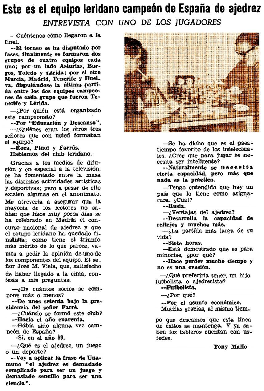 Entrevista a Josep Maria Biela, Diario de Lérida, domingo 5 de mayo de 1968