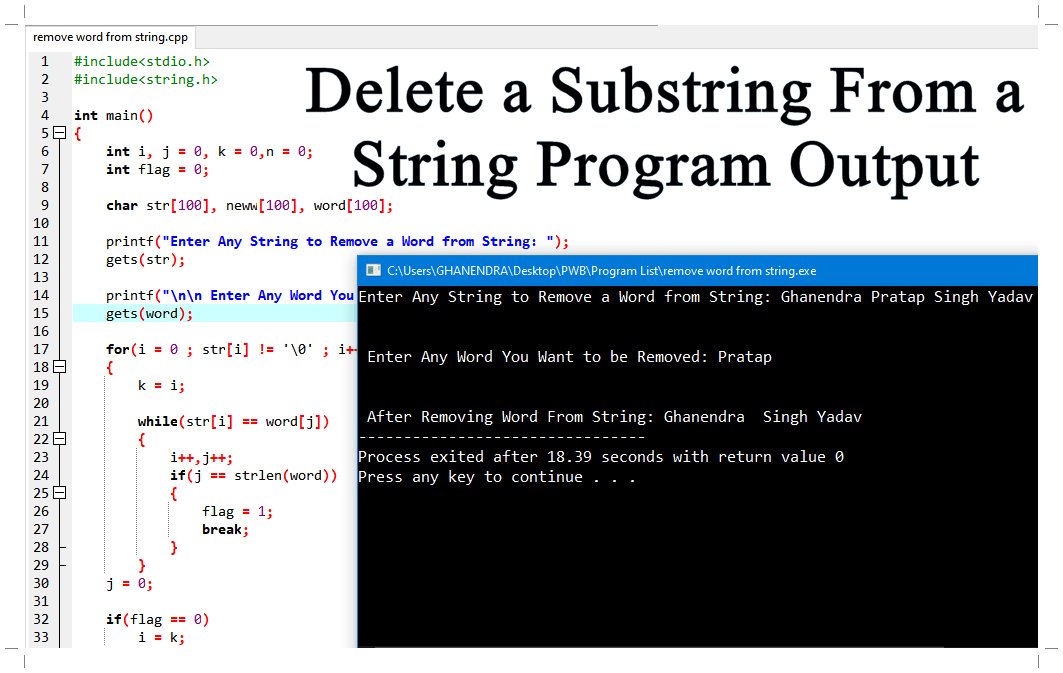 Delete a Substring From a String Program Output