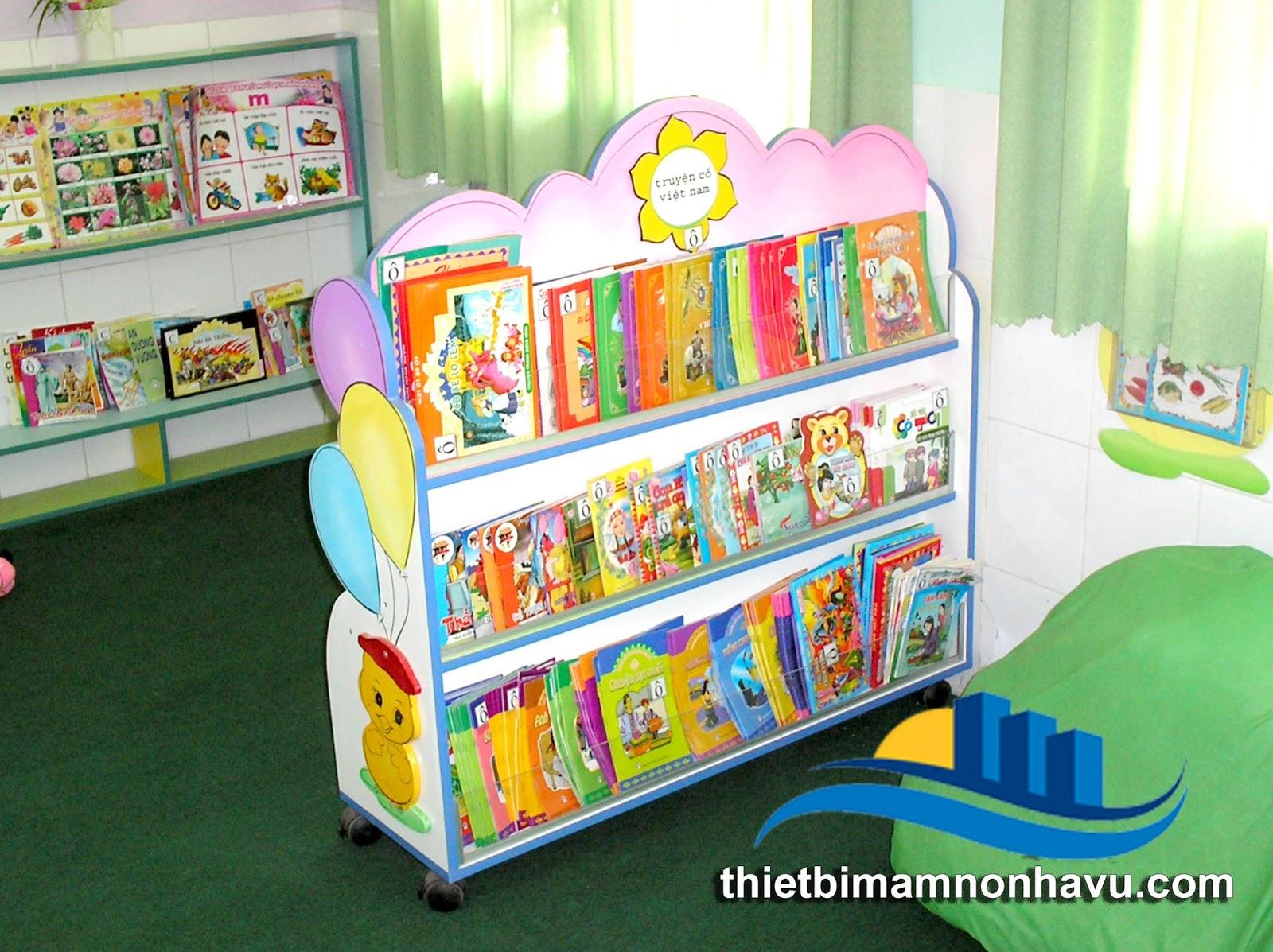 Kệ thư viện mầm non mẫu giáo