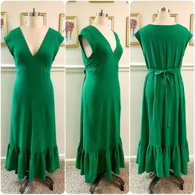 Review: Vogue 9311 - Kelly Green Ruffle Hem Midi Dress!