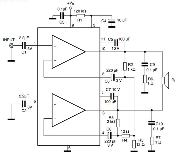 skema rangkaian amplifier stereo