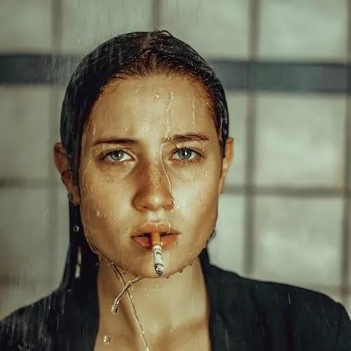 wet girl smoking