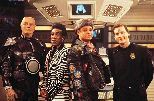 Robert Llewellyn, Danny John-Jules, Craig Charles, Chris Barrie and Hattie Hayridge in Red Dwarf III