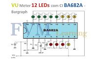 VU Meter 12 LEDs Ponto ou Barra com CI BA682A - Bargraph