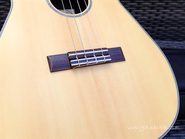 Clearwater roundback baritone ukulele bridge