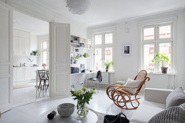 my scandinavian home a serene white and grey swedish apartment. Black Bedroom Furniture Sets. Home Design Ideas