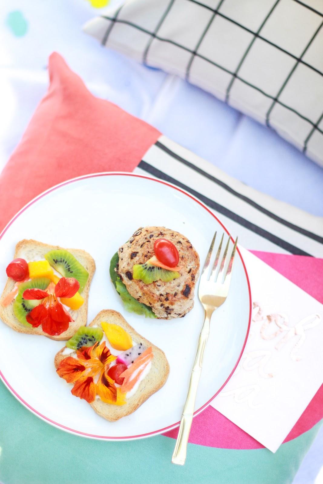 picnic colorido tropical arranjos florais com frutas