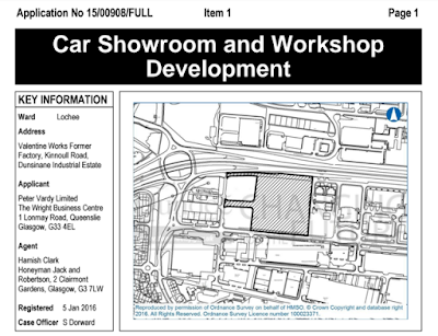 Car Showroom and Workshop Planning Application Dundee 2016