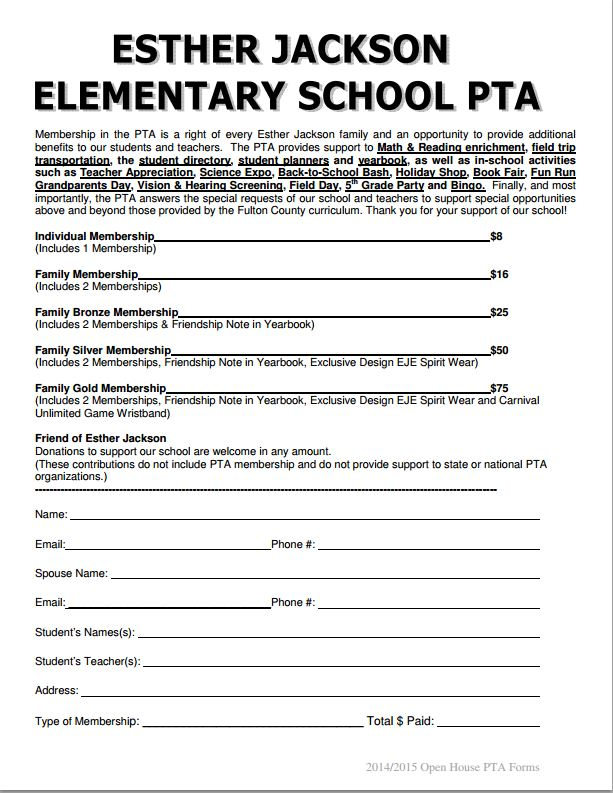 pta membership card template - esther jackson elementary pta pta memberships