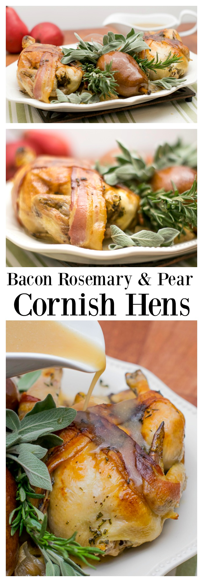 #ad #holidayhens This wonderful rustic winter recipe for Cornish Hens made with fresh rosemary, sage and garlic and topped with bacon will be the hit of your holiday party!