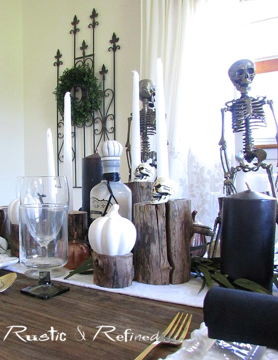 Holiday tablescape for Halloween and entertaining friends.