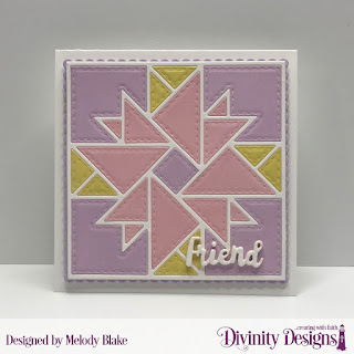 Custom Dies: Quilted Triangles, Scalloped Squares, Celebration Words, Paper Collection: Spring Flowers