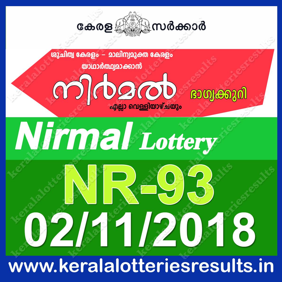 Kerala Lottery Results; 02-11-2018 Nirmal Lottery Result ...