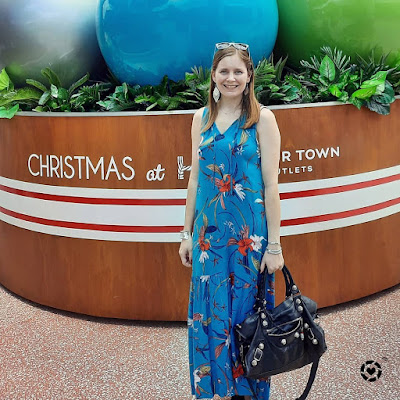 awayfromtheblue Instagram | kmart teal tropical print floral maxi dress with black balenciaga part time bag shopping outfit