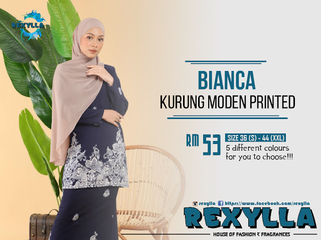 rexylla, kurung, kurung moden, kurung moden printed, bianca collection