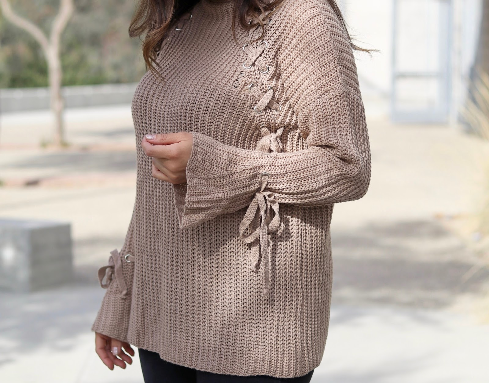 sweater details, taupe knit sweater, how to style a taupe sweater
