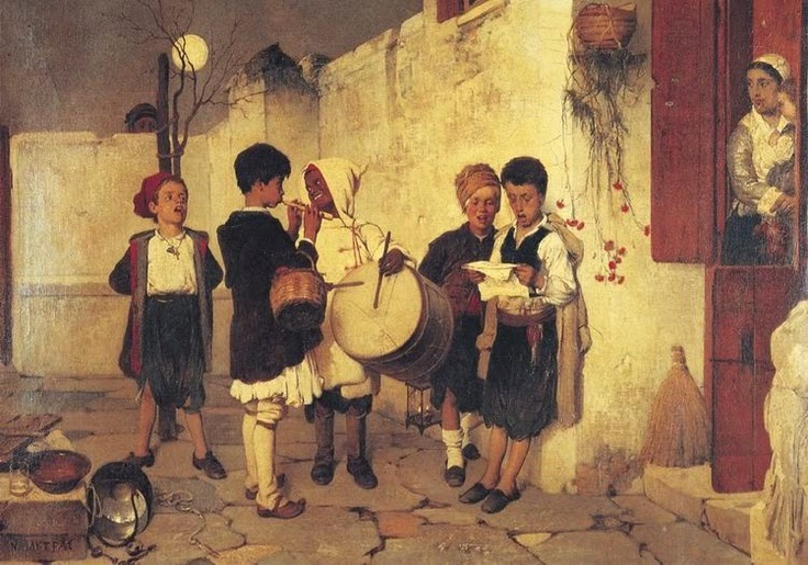 Painting by Nikiphoros Lytras Kalanda 1872 This painting is used for the most popular Greek Christmas card.