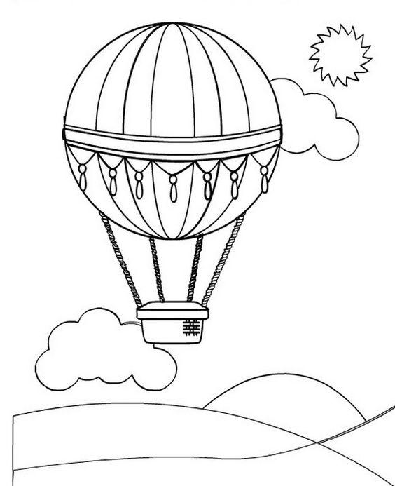 Tranh tô màu khinh khí cầu và đám mây