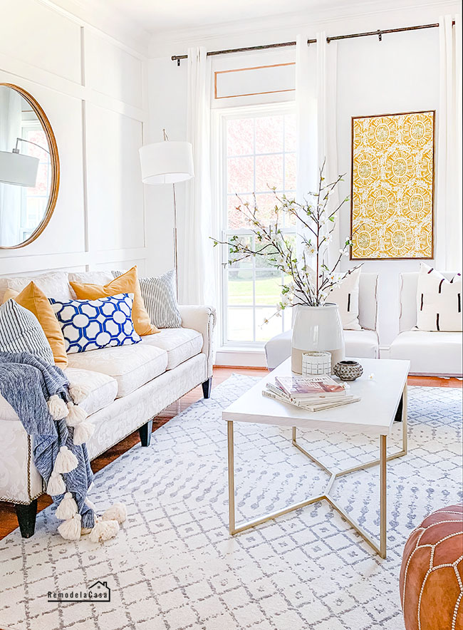 Living room for spring with pops of yellow