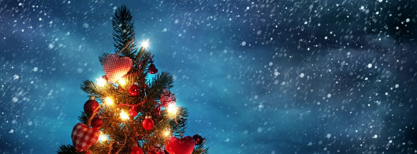 Beautiful Red Christmas Tree With Gifts Fb Cover Ocean