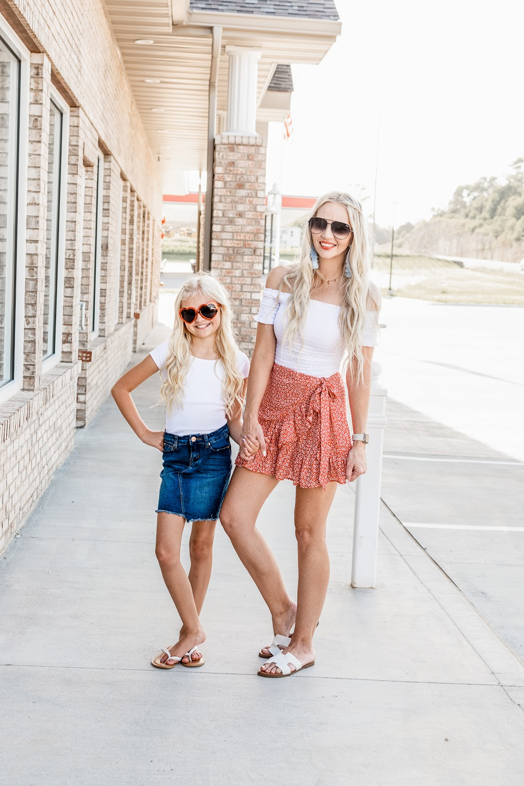 Cute casual looks for the 4th of July for both mom and daughter! Outside BBQ Mom Life Mini Me Mommy and Me Twinning Matching 4th of July Independence Day Shorts Skirt Denim Cut off Skirt Red White Blue Americana American Flag Photography Lifestyle